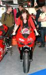 Caroline on the California Superbike School Ducati